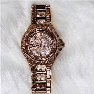 Michael Kors rose gold crystal studded watch